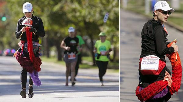 Американец Дэвид Бэбкок принял участие в марафоне Канзас-Сити, во время которого умудрился связать шарф длиной почти 4 метра.