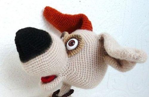 Подглазники-шарики у вязаной собаки