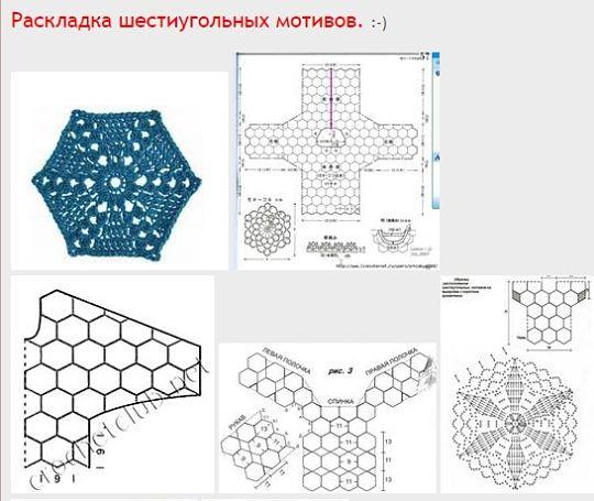Пособие в схемах по соединению шестиугольных мотивов