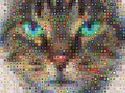котик из бабушкиных квадратов. Картина из мотивов