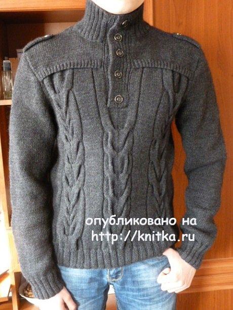 вязание спицами, мужской пуловер