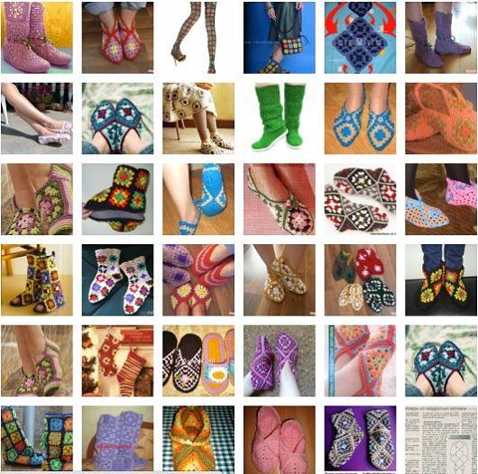 Вязаная обувь из бабушкиных квадратов