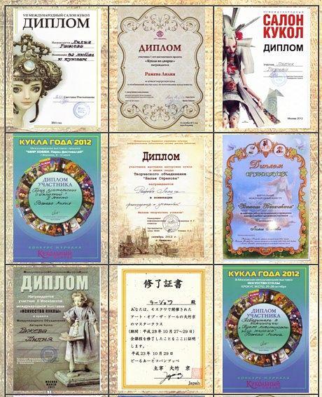 Коллекция дипломов Лилии Ражевой
