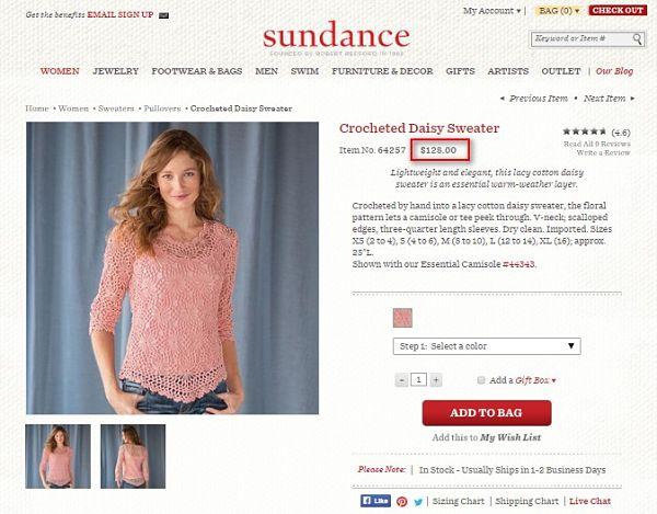 Crocheted Daisy Sweater - ажурная кофточка крючком за 128$. Сайт, где можно купить такую кофточку