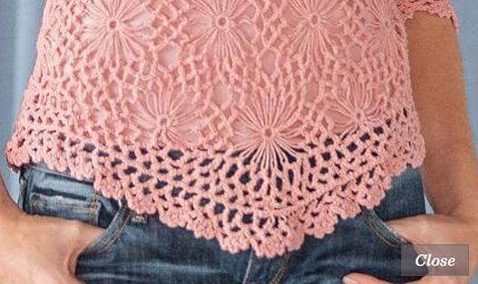 Crocheted Daisy Sweater - ажурная кофточка крючком за 128$. Низ изделия