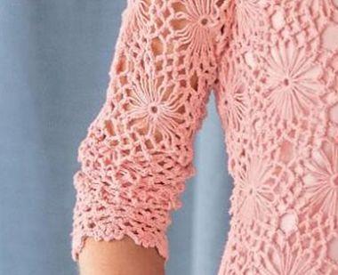 Crocheted Daisy Sweater - ажурная кофточка крючком за 128$. Фрагмент рукава